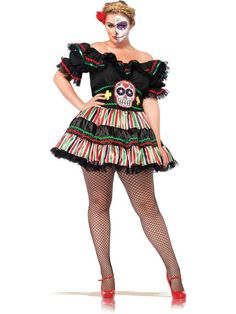 Sexy Women's Day of the Dead Doll Plus Costume