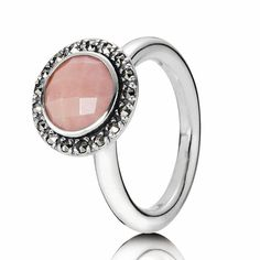 Pandora Marcasit Pink Opal Ring $115 #Pandora #Ring #Stackable Pandora Valentines Day 2013 Cute Gift Ideas for her from him. The perfect gift for a wife, fiance, love of your life...  Full Pandora jewelry line available at Silver & Sassy in North East MD. Phone: 410-287-1535