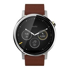 Motorola Moto 360 Gen Smartwatch for Most Apple iOS and Android Cell Phones (Men's, Silver w/Cognac Leather) Modern Watches, Watches For Men, Men's Watches, Rugged Watches, Analog Watches, Smartwatch, Bluetooth, Android Wear, Android 4
