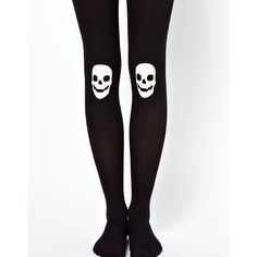 ASOS 80 Denier glow in the dark Skull Tights ($7.30) ❤ liked on Polyvore featuring intimates, hosiery, tights, socks, high waisted tights, asos tights, asos, skull stockings and skull tights