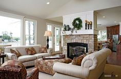 Facts About Living Room with Fireplace : Living Room Ideas With Corner Fireplace. Living room ideas with corner fireplace. Living Room With Fireplace, Cozy Living Rooms, Formal Living Rooms, Living Room Kitchen, Fireplace Kitchen, Farmhouse Fireplace, Cottage Fireplace, Dining Rooms, Fireplace Bookshelves