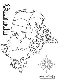 Learn and have fun at the same time with this map of Canada, the USA's neighbor to the north — and land of hockey, poutine and sci-fi TV shows. More coloring pages you might like Geography Of Canada, Geography For Kids, Maps For Kids, Social Studies Activities, Kindergarten Activities, Preschool, Canada For Kids, Canada 150, Printable Maps