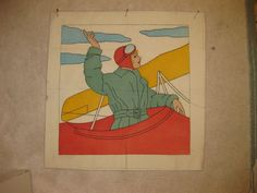 VINTAGE VOGART LIKE EMBROIDERED TINTED PILLOW TOP CASE AIRPLANE WOMAN  GIRL