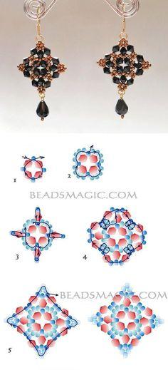 Free pattern for beautiful beaded earrings Mia | Beads Magic visit us on canawan.com