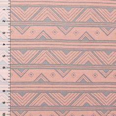 Rose and Gray Art Deco Cotton Jersey Blend Knit Fabric