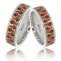 Verighete ATCOM Lux VARVARA aur alb cu roz Aur, Bangles, Bracelets, Bracelet Watch, Gemstone Rings, Wedding Rings, Gemstones, Watches, Accessories