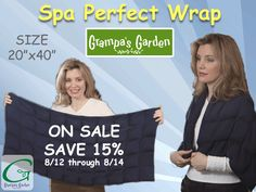 Super-Popular Products On Sale - 3 Days Only! Tuesday 8/12 through Thursday 8/14/14. Save 15% on: Spa Perfect Wrap http://www.grampasgarden.com/hot-summer-3-day-sale/spa-perfect-wrap.html   ‪#‎summer‬ ‪#‎sale‬ ‪#‎blankets‬ ‪#‎shawls‬ ‪#‎wraps‬ ‪#‎hotpack‬ ‪#‎heat‬ ‪#‎hot‬ ‪#‎natural‬ ‪#‎therapy‬
