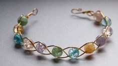 Wire bracelet with beads; very simple. #jewelrymaking