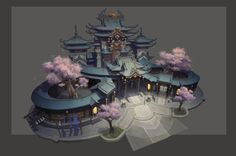 thanks for watching. Ancient Chinese Architecture, Japan Architecture, Concept Architecture, Fantasy Castle, Fantasy House, Fantasy World, Building Concept, Building Art, Landscape Concept