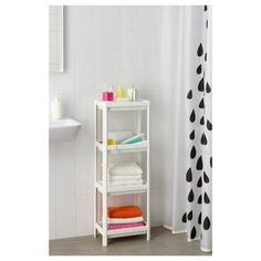 IKEA - VESKEN, Shelf unit, white, Assemble the shelf unit quickly and easily without any tools by clicking the parts together. The shelf has a high edges on all sides and keeps everything in place. Perfect in a small bathroom. Ikea Bathroom Shelves, Bathroom Storage Units, Small Bathroom, Toilet Storage, White Bathroom, Ikea Hack, Corner Shelf Unit, Shelf Units, Small Bathrooms