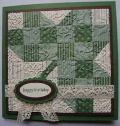 quilt card from Beth's Paper Cuts: Grandma's shadow box ... small squares in green patterned papers form a shamrock ... luv the embossing texture ... lace  ribbon ... great card! ... Stampin' Up!