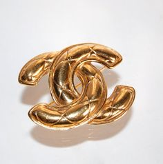 CHANEL Quilted CC Logo Brooch Designer Vintage Gold by Curiopolis