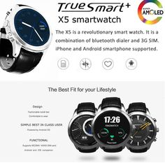 FINOW X5 1.4 inch Round Dial Android 4.4 3G Smartwatch Phone MTK6572 Dual Core 4GB ROM GPS Heart Rate Monitor WiFi  -  SILVER #phone #mobile #gadgets #CellPhones #smartphones @gadgetsone