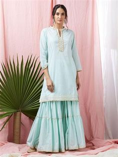 Mint Green Gota Embroidered Cotton Mulmul Kurta with Sharara - Set of 2 Heavy Dresses, White Maxi Dresses, Cotton Dresses, Sarara Dress, Trendy Kurti, Sharara Designs, Designer Kurtis Online, Pakistani Fashion Casual, Kurti Embroidery Design