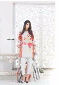 Riaz Art's #Charizma Black & White Pakistani Embroidered Lawn #Eid Suit Vol1 B&W-05C #Grey
