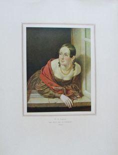 TROPININ DIE FRAU DES KASSIERERS Porträt Kunstdruck Reproduktion Russland 1952