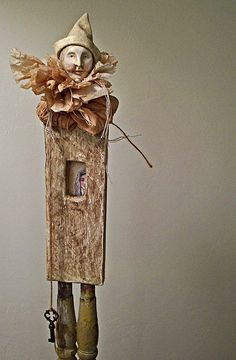 LolliePatchouli - Paper mache, recycled chair spindles, fabric and tea bags