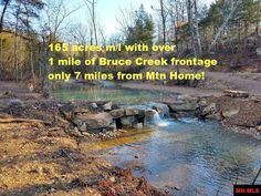 Unbelievable find. 165 acres m/l with Bruce Creek flowing through property. Trout migratory up from the White River. 3 year old foam insulated home. Priced at approx. $2800 per acre, with sale including 2014 2 BR, 1440 sq ft home and sawmill business worth approx. $75,000. including business contacts & training. Approx 1 ¼ mile of Bruce Creek frontage in Gassville AR