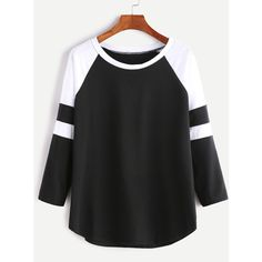Black And White Contrast Raglan Sleeve T-shirt ($7.99) ❤ liked on Polyvore featuring tops, t-shirts, black and white, long sleeve raglan tee, raglan t shirt, black and white tee, stretch t shirt and cotton blend t shirts