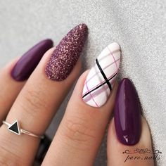 Make an original manicure for Valentine's Day - My Nails Perfect Nails, Gorgeous Nails, Nails Factory, Plaid Nails, Aycrlic Nails, Pretty Nail Art, Manicure E Pedicure, Cute Acrylic Nails, Stylish Nails