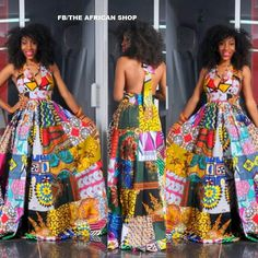Dance With the Night - Long Unique African Dress, Black Dress with Bright African Patchwork, Ooak Boho Patchwork Dress, Ideal for L to African Inspired Fashion, African Print Fashion, Africa Fashion, Fashion Prints, Fashion Styles, African Fashion Designers, African Attire, African Wear, African Women