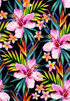 Vivid jungle seamless pattern illustration in watercolor royalty-free vivid jungle seamless pattern illustration in watercolor stock vector art & more images of drenched Tropical Wallpaper, Flower Wallpaper, Wallpaper Backgrounds, Iphone Wallpaper, Tropical Design, Tropical Art, Tropical Flowers, Colorful Flowers, Stock Foto
