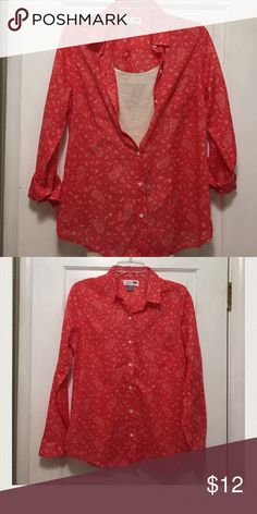 🔴2 for $1o🔴Old Navy cotton shirt Orange paisley Old Navy cotton shirt Old Navy Tops