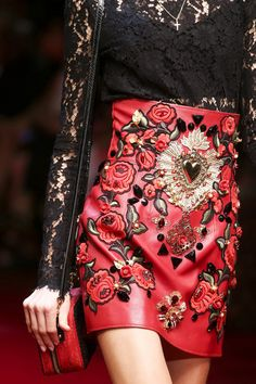 Embellished and broidery leather Dolce & Gabbana Spring 2015 RTW – Runway – Vogue