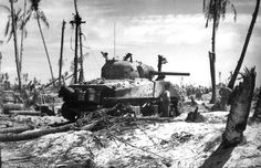 """Destroyed during the fierce fighting on Iwo Jima American M4A2 """"Sherman"""" medium tank. Iwo Jima was captured by the forces of the Marine Corps. M4A2 """"Sherman"""" medium tank belonged to the U.S. Marines. M4A2 """"Sherman"""" medium tank – had a diesel engine, as the tank from the Marine Corps needs to work on the ship's diesel fuel. Location: Iwo Jima, Japan Time: March 1945"""