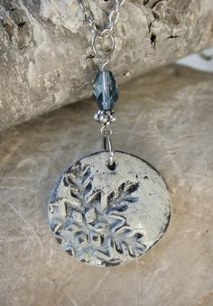 Snowflake Polymer Clay Pendant Necklace in by 3TREEaccessories,