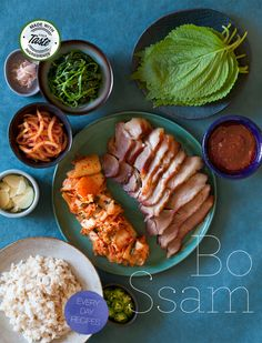 korean Bo-Ssam spread, pork and kimchee bundles. the most delicious thing ever.