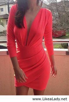 Neon Coral Plunge Neckline Dress