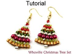 Whoville Christmas Tree Holiday Necklace Earrings Set Beading Tutorial Pattern Instructions Directions