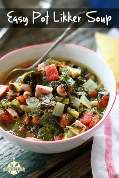 Southern Bite • If you like collard greens and black-eyed peas, chances are you'll love this Pot Likker Soup! Quick, easy, and full of flavor!