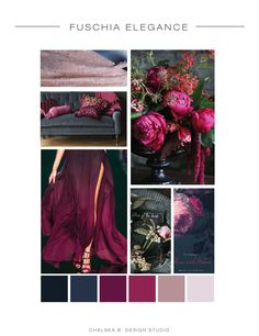 Fuschia and Navy Mood Board | Pink and Blush | Moody Fall Wedding Inspiration Board