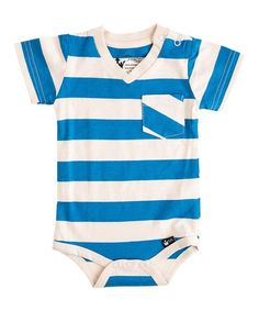 abfec7797 Littlest Prince Couture Oatmeal & Blue Stripe Pocket Bodysuit - Infant
