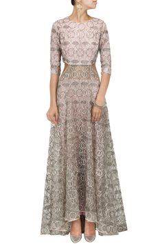 Dusky rose embroidered kurta with linen pants by PAYAL SINGHAL.