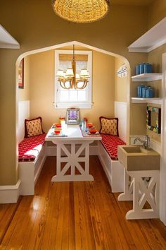 Fabulous Breakfast Nook Ideas Kitchen Nook Dining Set White Table Benches Red Paddingry