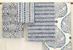 Blues - Pomegranate, Ribbon, Monarch and Lotus   Galbraith & Paul fabrics #textiles #block printed