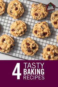 Now that we're all spending more time at home, let's try to make the most of it by baking delicious treats! Take a look at these four tasty baking recipes using staple ingredients you have at home. Blueberry Lemon Recipes, Cherry Recipes, Banana Recipes, Delicious Cookie Recipes, Yummy Cookies, Dessert Recipes, Yummy Food, Bakery Recipes, Cooking Recipes