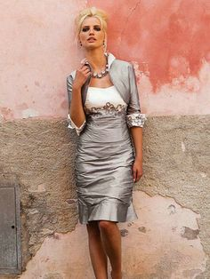 Sheath/Column 1/2 Sleeves Sweetheart Applique Knee-length Satin Mother of the Bride Dress