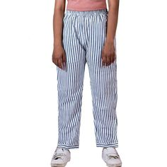 White Straight Pants with blue Stripes