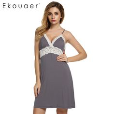 Ekouaer Brand Spring Autumn Nightgown Women Sexy Spaghetti Strap Lace Patchwork Lingerie Dress Sleepwear Sleepshirts Size S-XL * You can find out more details at the link of the image.