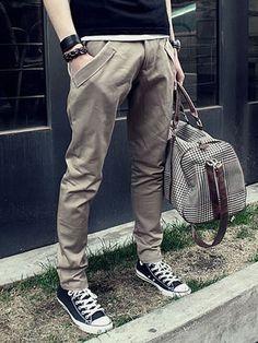 I found 'Khaki Cotton Slim Korean Fashion Men Pockets Long Harem Pants 1618-SK35ka' on Wish, check it out!
