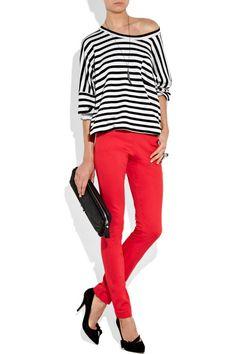 stripe top, red pants