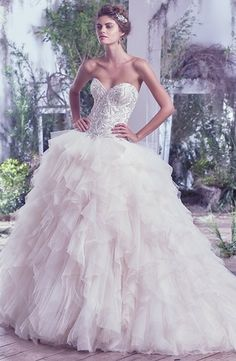 Maggie Sottero - Strapless Ball Gown in Beaded Embroidery