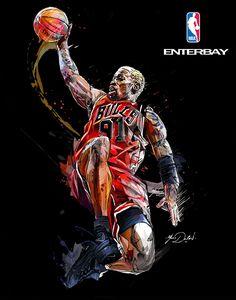NBA/ ENTERBAY. Chicago Bulls Legends. on Behance Dennis Rodman Bulls, Basketball Tattoos, Nba Basketball, Scottie Pippen, Michael Jordan, Sneaker Art, High Schools, Chicago Bulls, Sports Art