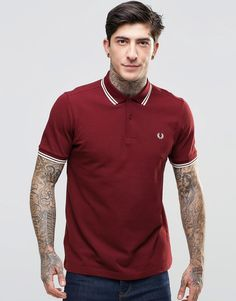 Shop Fred Perry Polo Shirt With Twin Tip Slim Fit In Port at ASOS. Fred Perry Polo Shirts, Tennis Fashion, Men Fashion, Mens Polo T Shirts, Twin Tips, Nike Outfits, Mens Clothing Styles, Nike Clothes, Men Clothes