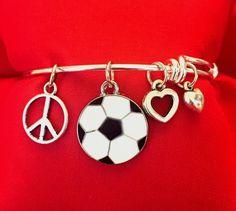 Soccer Charm Bracelet - Peace Love Soccer