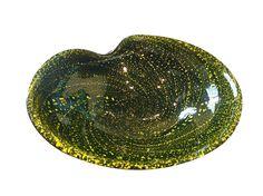 Large Black Murano bowl w/acid yellow metallic galaxy pattern; ca. 1950